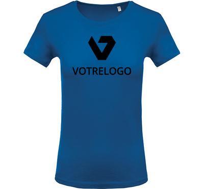 T-shirt femme K389 bleu - L